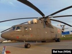 去年8月莫斯科航展上的米-26直升機(美國之音白樺拍攝)