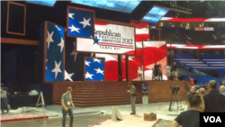 The stage and electronic backdrop for the Republican National Convention in the Tampa Bay Times Forum.