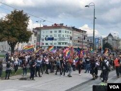 Povorka ponosa stigla pred Parlament i Vijeće ministara BiH, Sarajevo, 8. septembar 2019.