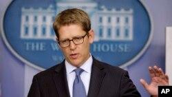Juru bicara Gedung Putih di tengah briefing kepada wartawan, Selasa (15/10).