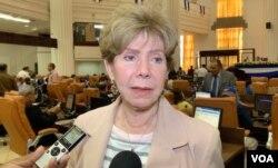 La diputada opositora, Azucena Castillo, critica el desempeño del gobierno de Nicaragua frente al coronavirus. (Foto: Houston Castillo).