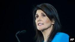 Nikki Haley fala no Conselho de Segurança