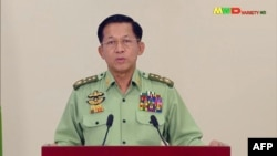 This screen shot provided via AFPTV was taken from a broadcast by Myawaddy TV in Myanmar on February 8, 2021. It shows Myanmar military chief General Min Aung Hlaing addressing the nation. (AFP)