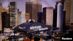 Un avión no tripulado Amazon Prime Air durante la exhibición 'Drones: Is the Sky the Limit?'.