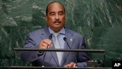 Le président mauritanien Mohamed Ould Abdel Aziz au siège des Nations unies, New York, 26 septembre 2015,.