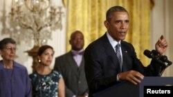 바락 오바마 미국 대통령이 3일 백악관에서 새로운 온실가스 규제안을 발표하고 있다.