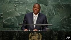 Rais Uhuru Kenyatta wa Kenya akitoa hotuba kwenye makao makuu ya Umoja wa Mataifa mjini New York.