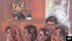 Drawing showing five of the 10 arrested Russian spy suspects in a New York courtroom, 28 Jun 2010