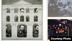Э.Гороховский. Портрет. 1977. Офорт, бронза/ (справа) Группа А. Группа Б. 1982. Шелкография. Courtesy: Kolodzei Art Foundation