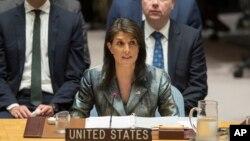 نیکی هیلی نماینده آمریکا در سازمان ملل متحد در نشست شورای امنیت آن سازمان - ۲۰ فوریه ۲۰۱۸