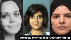 La blogueuse Eman al-Nafjan, la militante des droits humains Loujain al-Hathloul et la professeure Aziza al-Yousef