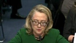 Hoton Sakatariya Hillary Clinton kennan a lokacin da take gaban majalisar dokokin Amurka.