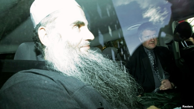 Jordanian preacher Abu Qatada, left, driven from a Special Immigration Appeals Commission hearing in central London, April 17, 2012.