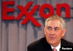 FILE - ExxonMobil chairman and chief executive officer Rex W. Tillerson speaks at a news conference in Dallas, Texas. Tillerson was named President-elect Donald Trump's choice to be secretary of state.