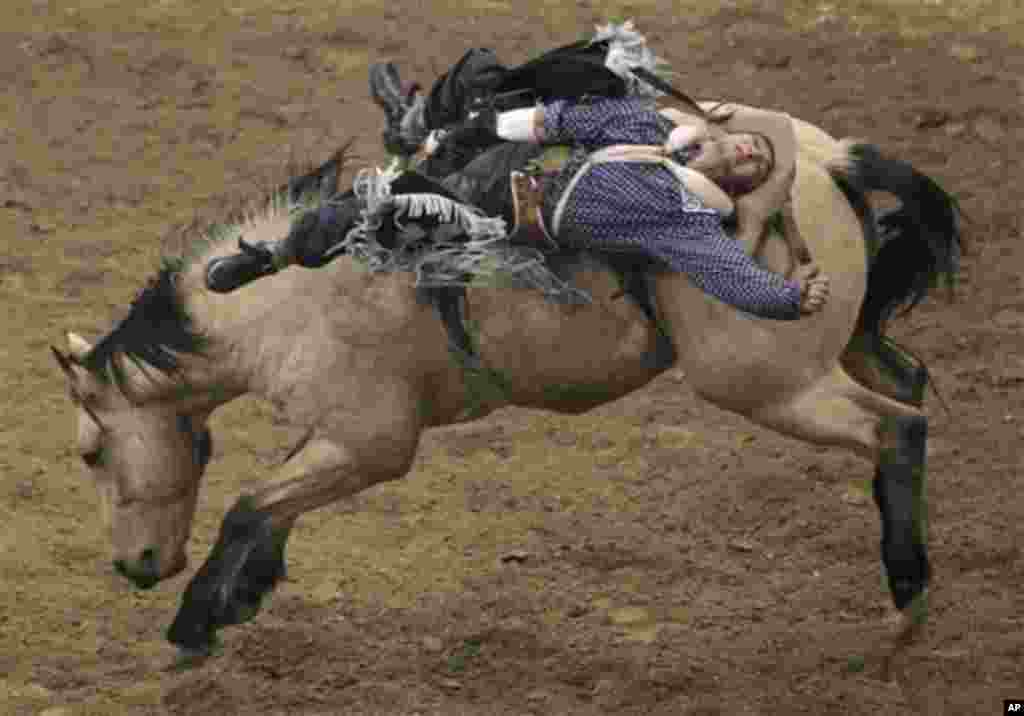 Will Lowe, of Canyon, Texas, rides in the bareback competition for a score of 82.5 and fourth place in the event during the eighth go-round of the National Finals Rodeo, Thursday, Dec. 8, 2011, in Las Vegas. (AP Photo/Julie Jacobson)