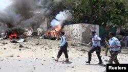 4月14日索馬里警察趕赴摩加迪沙的事發地點