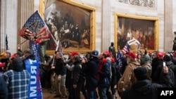 1月6日特朗普總統的支持者衝進國會大廈抗議。(照片來自AFP)