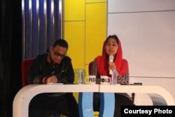 Eva Kusuma Sundari mewakili TKN Jokowi-Amin bersama Inas Nasrullah Zubir. (Foto: Humas UGM)