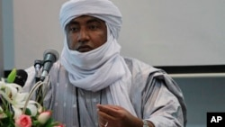 FILE - Mossa Ag Attaher, spokesman for the National Movement for the Liberation of Azawad, Rabat, Morocco, Jan. 23, 2014.