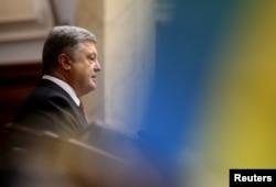 Ukrainian President Petro Poroshenko delivers a speech to parliament in Kyiv, Ukraine, Sept. 7, 2017.