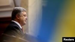 (FILE) Ukrainian President Petro Poroshenko at parliament in Kyiv, Ukraine, Sept. 7, 2017.