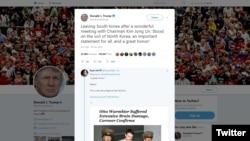 Donald Trump, tweet on his meeting with Kim