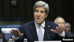 U.S. Senator John Kerry testifies during his Senate Foreign Relations Committee confirmation hearing to be secretary of state, Washington, January 24, 2013.