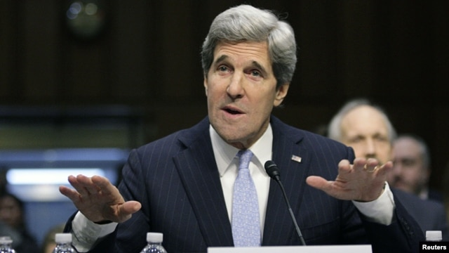 U.S. Senator John Kerry testifies during his Senate Foreign Relations Committee confirmation hearing to be secretary of state, Washington, January 24, 2013.