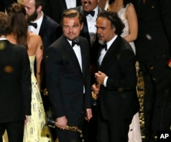 Director Alejandro Inarritu (R) and actor Leonardo DiCaprio hold their Oscars after the end of the awards ceremony at the 88th Academy Awards in Hollywood, California, Feb. 28, 2016.