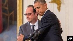 Prezident Barak Obama va Fransiya rahbari Fransua Olland Oq uy, Vashington, 24-noyabr, 2015-yi