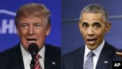 Le président entrant des Etats-Unis, Donald Trump, à gauche, et le président sortant, Barack Obama, 2016.