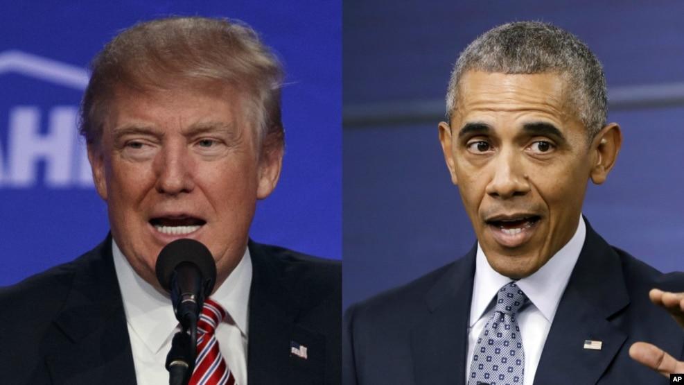 Ứng viên Donald Trump và Tổng thống Barack Obama.