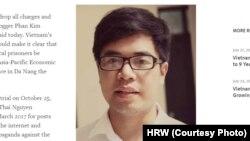 Ảnh sinh viên Phan Kim Khánh trên trang web của HRW.