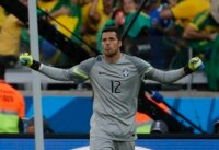 Brazil's goalkeeper Julio Cesar celebrates after the penalty shootout at the 2014 World Cup round of 16 game between Brazil and Chile at the Mineirao stadium in Belo Horizonte.