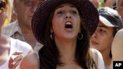 La hija de Raúl Castro hace una semana durante una manifestación contra Estados Unidos en La Habana.