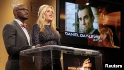 """Daniel Day-Lewis is announced as a nominee for Outstanding Performance by a Male Actor in a Leading Role for """"Lincoln"""" as actors Taye Diggs (L) and Busy Philipps announce the nominations for the 19th Annual Screen Actors Guild Awards in West Hollywood, Ca"""