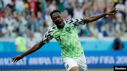 c8741654b3f Nigeria s Ahmed Musa celebrates scoring against Iceland at the 2018 FIFA World  Cup in Russia.