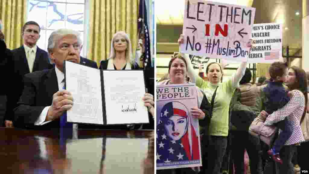 جمعے کو ٹرمپ نے حکم نامے پر دستخط کیے تھے جس کے تحت امریکہ کا پناہ گزینوں کا پروگرام معطل کر دیا گیا تھا۔