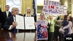 همزمان با دفاع ترامپ هزاران نفر در فرودگاههای آمریکا برای همراهی با پناهجویان و دارندگان ویزا تجمع کردند.