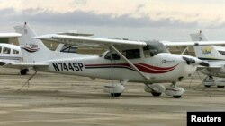 FILE - Picture of a Cessna 172, similar to the one piloted by Bill Fitzpatrick which was discovered crashed in forested, mountainous terrain in Cameroon last year.
