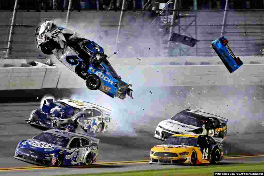 NASCAR Cup Series driver Ryan Newman (6) wrecks during the Daytona 500 at Daytona International Speedway in Daytona Beach, Florida, Feb. 17, 2020.