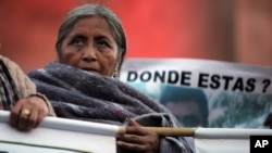 FILE - A relative of one of the 43 missing students from the Isidro Burgos rural teachers college stands on a stage with other missing student relatives during a protest in Mexico City, Dec. 6, 2014.