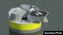 Illustration of possible configuration of floating offshore nuclear plant, based on design work by Jacopo Buongiorno and others at MIT's Department of Nuclear Science and Engineering. (Courtesy: Jake Jurewicz/MIT-NSE)