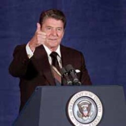 President Reagan during a 1985 speech in Oklahoma City