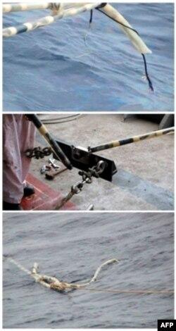 Hình ảnh do Petro Việt Nam công bố hôm 29/5/2011 cho thấy cáp thăm dò của tàu Bình Minh 02 bị phá hủy ở ngoài khơi tỉnh Phú Yên hôm 26/5/2011