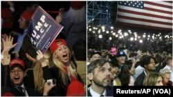 왼쪽: 미국 뉴욕의 도널드 트럼프 공화당 후보 선거캠프에서 트럼프 후보가 앞선다는 개표 결과에 지지자들이 환호하고 있다. 오른쪽: 힐러리 클린턴 민주당 후보 선거캠프의 지지자들은 개표 결과를 보고 충격에 빠졌다.