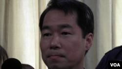 台湾外交部发言人何震寰3月19日 (美国之音申华拍摄)