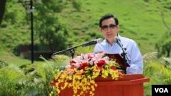 馬英九在紀念辜汪會談23週年儀式上講話(美國之音齊勇明拍攝)