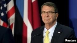 U.S. Secretary of Defense Ash Carter listens during a news conference in Tallinn, Estonia, June 23, 2015.