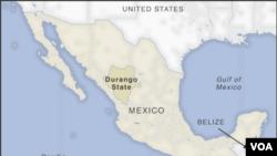 میکسیکو کی شمالی ریاست ڈورانگو کا نقشہ جہاں طیارے کو حادثہ پیش آیا۔